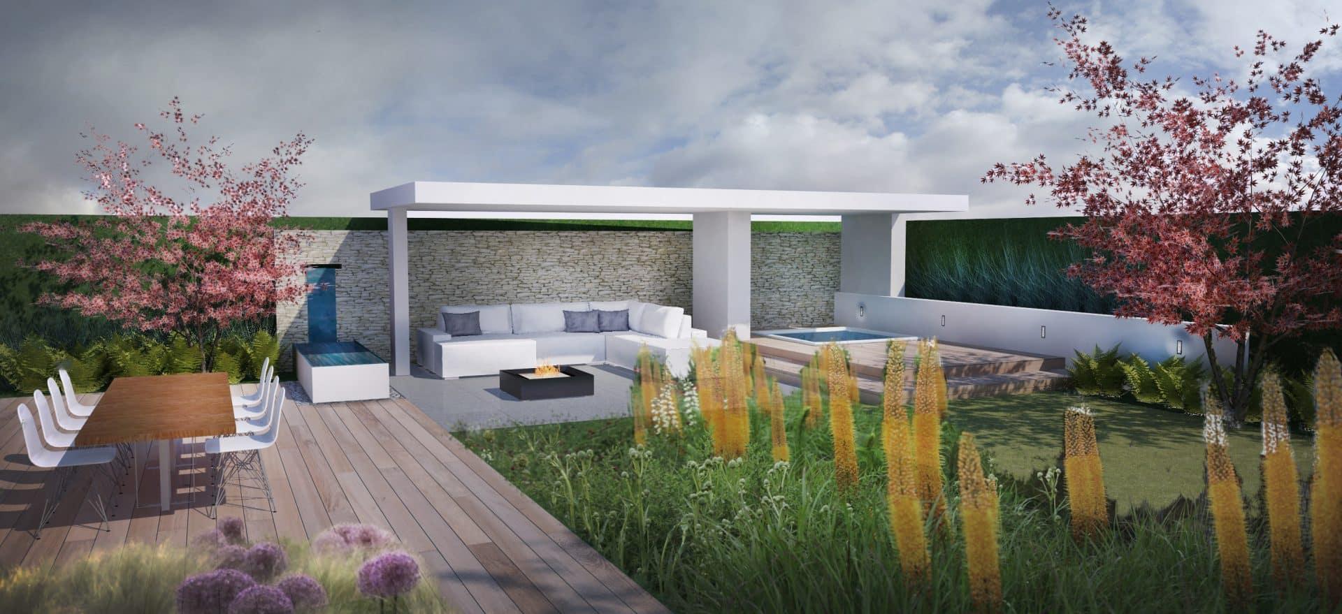 3D impressie tuinontwerp Den Haag Jeroen Hamers